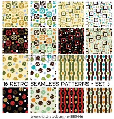 sixteen seamless retro patterns - set 3 - stock vector