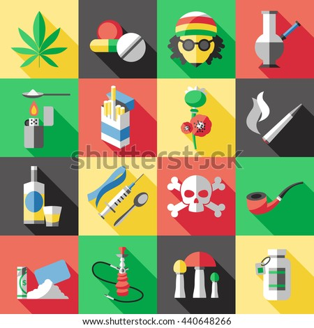 sixteen square flat drugs icon