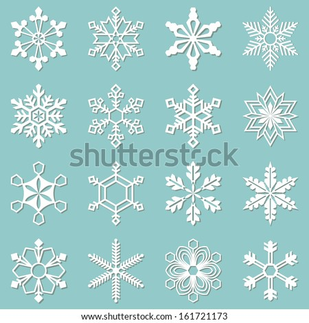 sixteen white snowflakes of