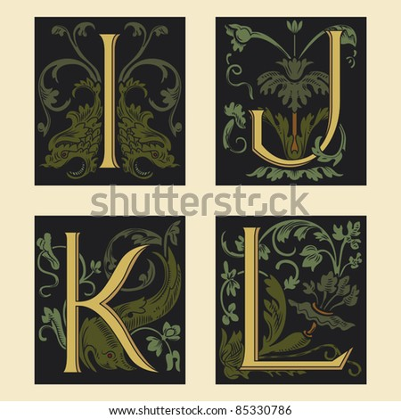 Sixteenth-Century alphabet I J K L in editable vector file