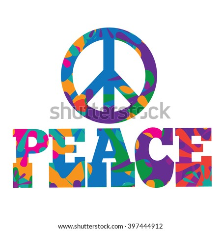 Sixties style mod pop art psychedelic colorful Peace text design. EPS 10 vector.