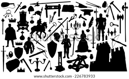 sixty medieval silhouettes on