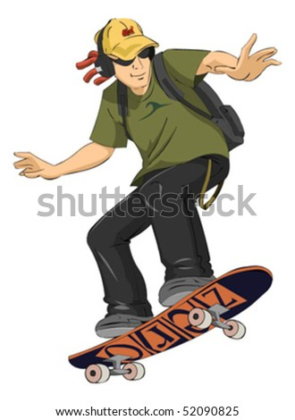 Skate boarder in air - stock vector