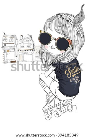 skate fashion girl with flower