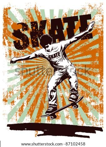 skate grunge poster with acrobat rider