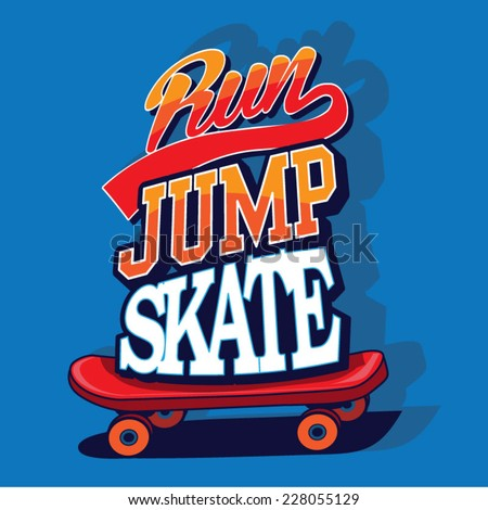 skate jump typography  t shirt