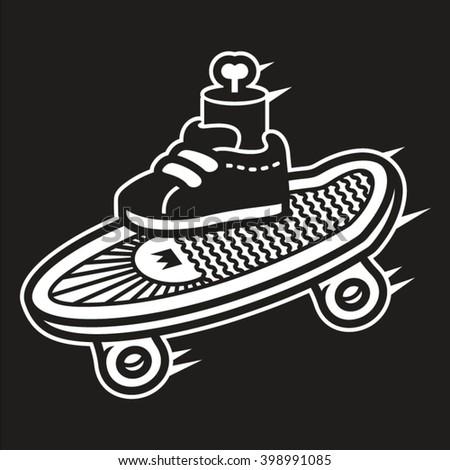 skate logo with leg artwork