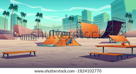 Skate park with ramps in tropical city. Vector cartoon cityscape with track for skateboard, picnic table, wooden bench and palm trees. Playground for extreme sport activity Stockfoto ©