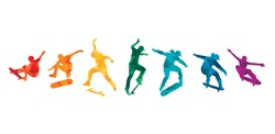 Skate people silhouettes skateboarders colorful vector illustration background extreme