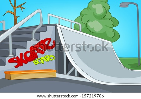 skate ramp cartoon background