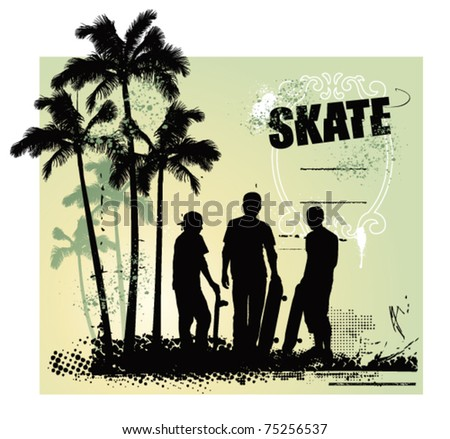 skate scene with three boys with tables