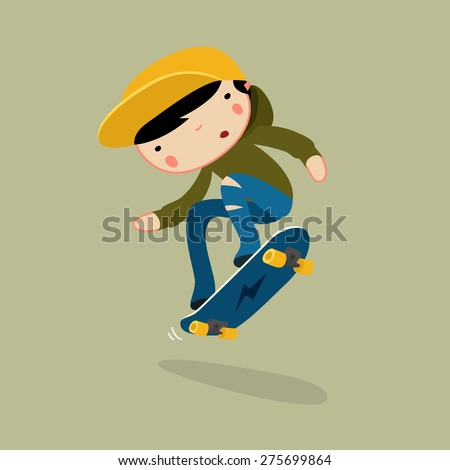 skateboard boy jumping vector