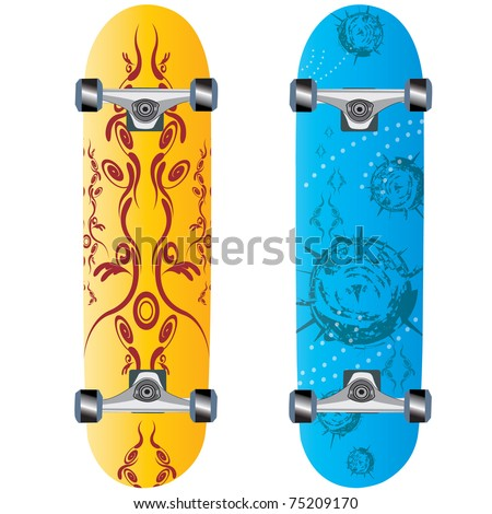 skateboard design with abstract symbols over gradient background