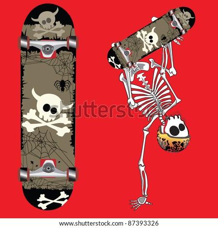 skateboard design with skeleton