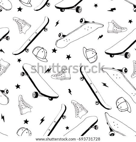 skateboard hand drawing