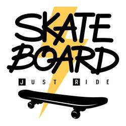 Skateboard handmade lettering for t shirt design. T-shirt print on the topic of skateboarding. Vector illustration with sport typography, lightning and a skateboard silhouette