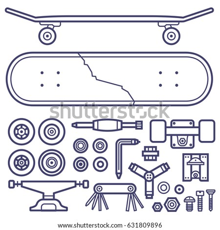 skateboard repair icon set