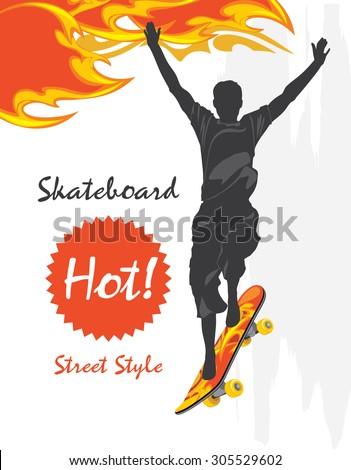 Skateboard. Street style. Vector