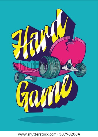 Skateboard / T-shirt graphics / textile graphic / Retro style. Vector / street style.