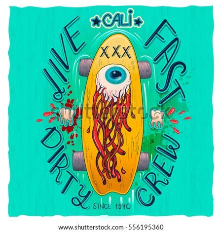 skateboard t shirt label design