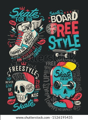 Skateboard vector set design with skull, sneaker, and slogan