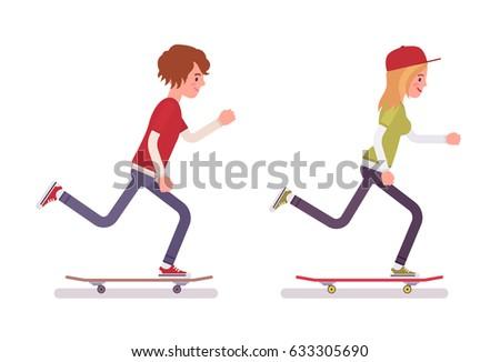 skateboarder boy and girl ...
