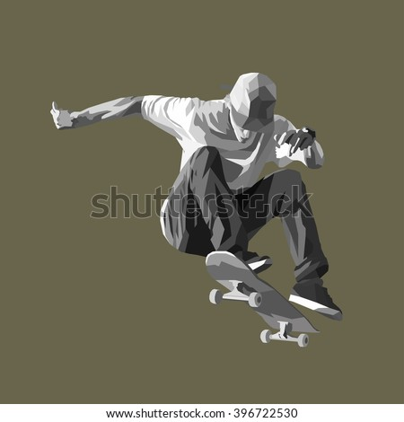 skateboarder doing a jumping