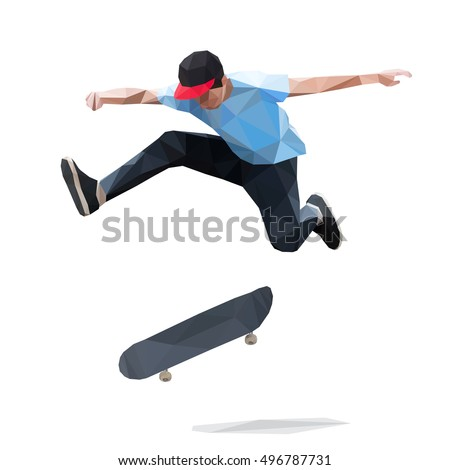 Skateboarder doing a jumping trick on skateboard. Low Poly Vector Illustration