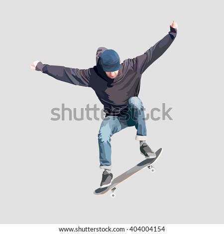 skateboarder doing flip  vector