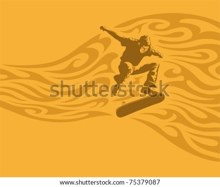 Skateboarder in action, vector illustration