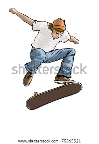 Skateboarder in action, vector illustration on white background