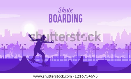 Skateboarder in the park on skateboard illustration.  sportsman on landscape of the city doing a trick. Skater doing kickflip on the ramp. young skateboarder legs skateboarding at skatepark