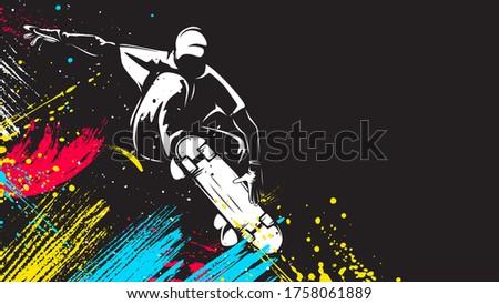 Skateboarder isolated vector illustration. Skateboarding sport theme. Skateboarder black and white logo. Stock photo ©