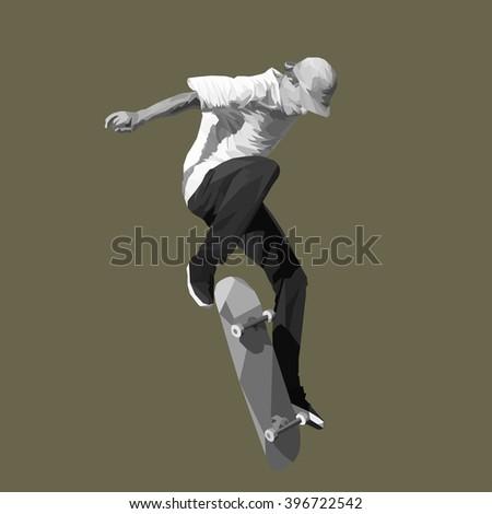 skateboarder jump on skateboard