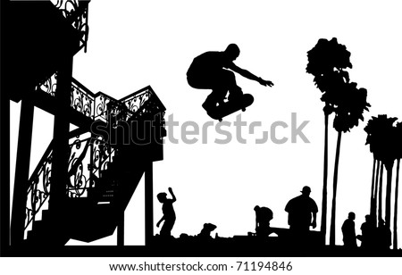 skateboarder leap with spiral