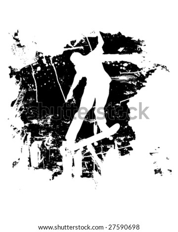 Skateboarder or snowboarder in vector silhouette with grunge style and effects