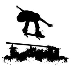 skateboarder silhouette, simple vector illustration