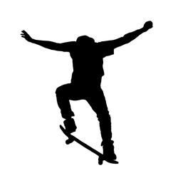 Skateboarder silhouette, vector illustration