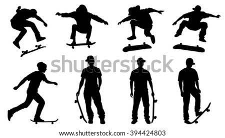skateboarder silhouettes on the