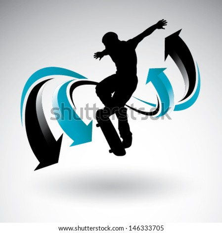 Skateboarder with arrows