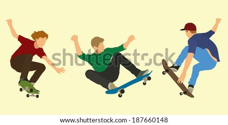 skateboarders doing tricks on