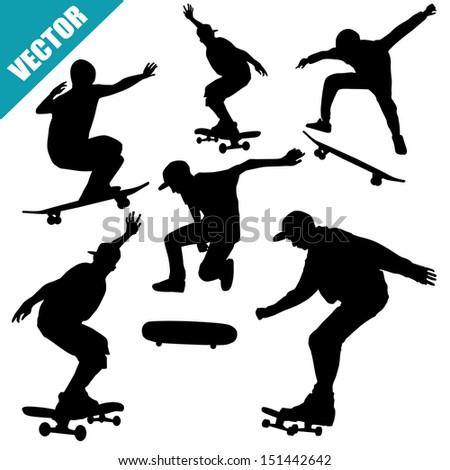 Skateboarders silhouettes on white background, vector illustration