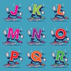 Skateboarding Character Design Mascot Alphabet J KL M N O P Q R