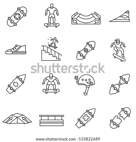 Skateboarding icons set. Skateboarder on the board, thin line design. Skate playground, linear symbols collection. Extreme sports and stunts on a skateboard, isolated vector illustration