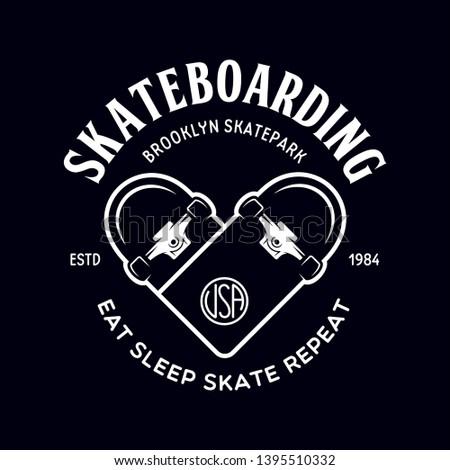 Skateboarding label badge. Skate shop logotype. Design elements for posters, t-shirt prints, emblems. Vector vintage illustration.