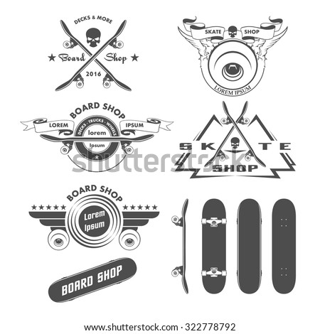 skateboarding labels badges and
