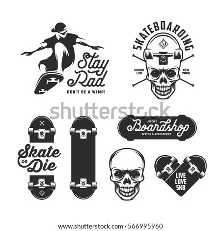 skateboarding labels badges set