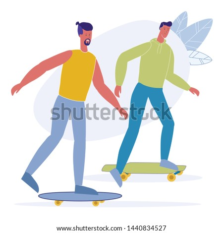 Skateboarding Leisure, Hobby Vector Illustration. Happy Skateboarder, Hipsters Cartoon Characters. Young Adults, Young Men Riding Together. Summer Activity, Extreme Outdoor Recreation, Pastime