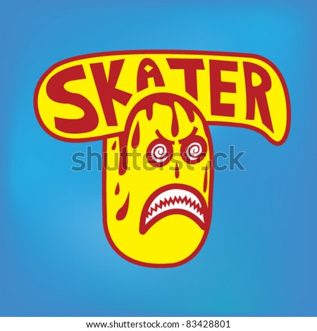 Skateboarding Sticker - Vector Illustration