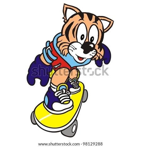Skateboarding Tiger Vector Illustration